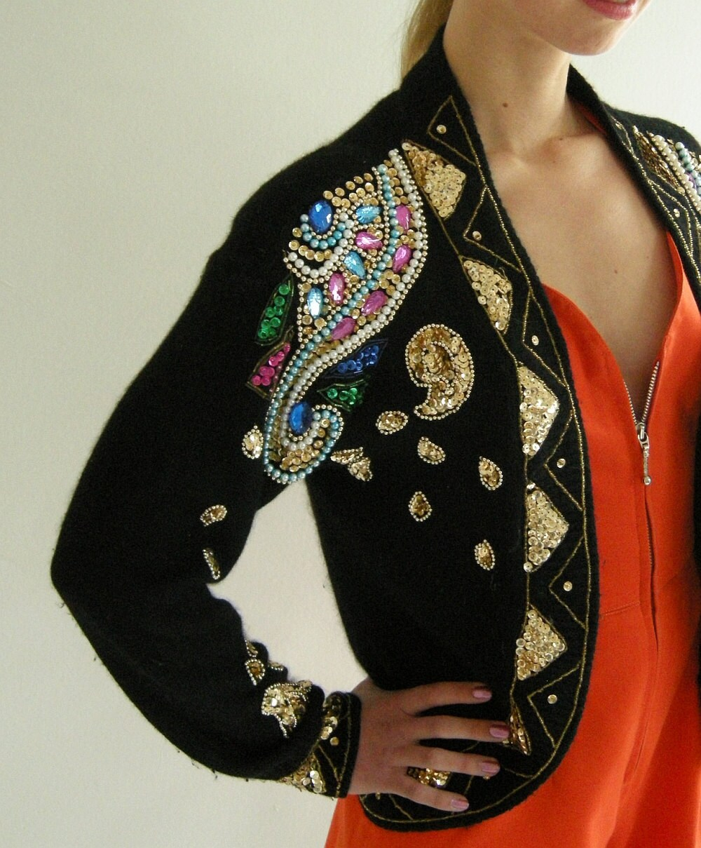 Beaded Black Silk Angora Vintage 80s Cardigan by empressjade from etsy.com