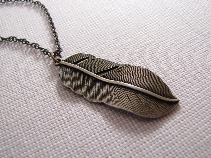 Antiqued Brass Feather Necklace