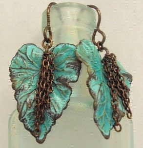 Aqua Patina Brass Leaf and Chain Earrings - Feeling Like Fall