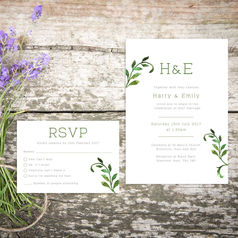 Printable Wedding Invitation RSVP Save the date Thankyou card PDF Download Custom Botanical Floral Emily suite 003