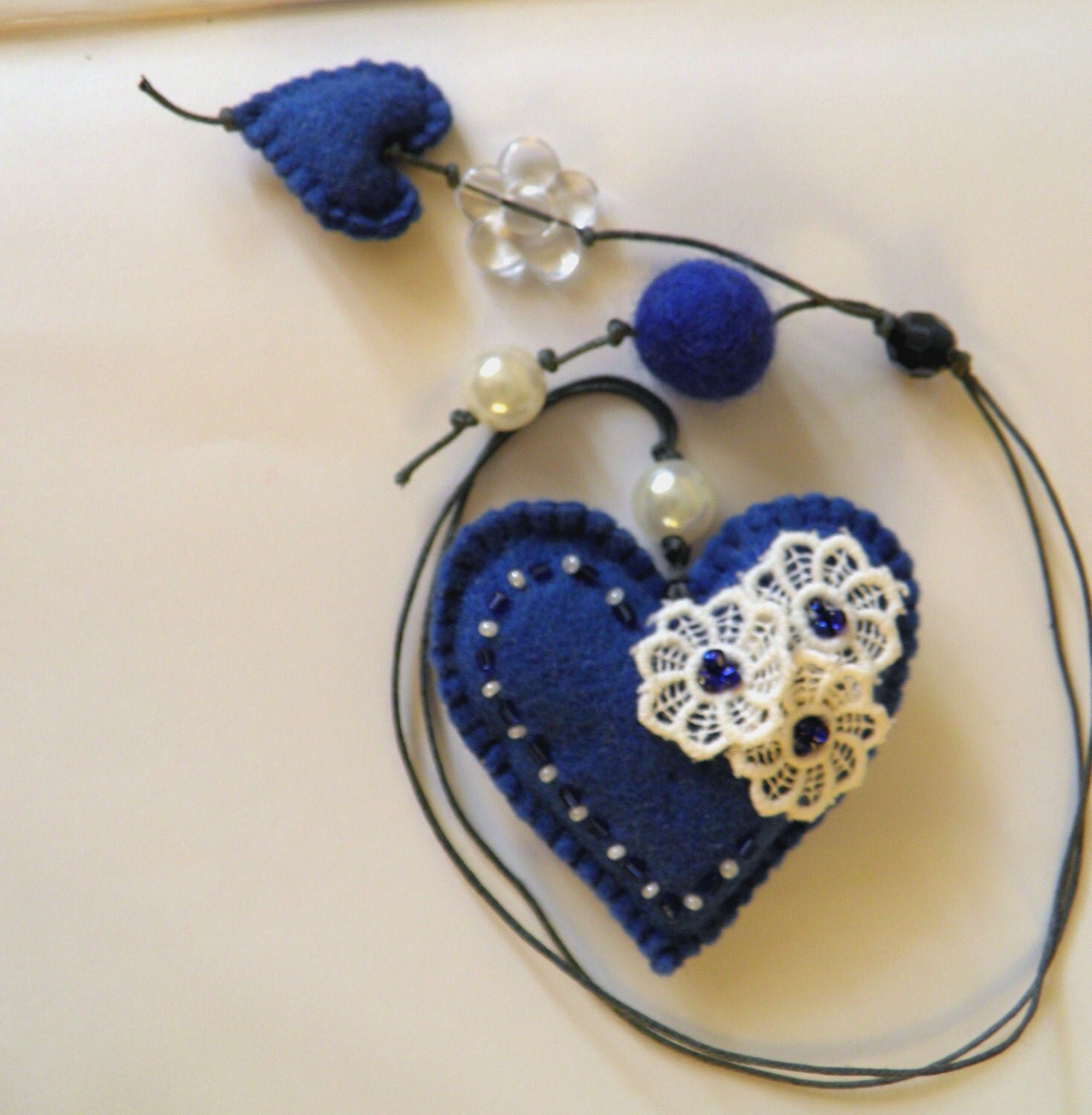 Felt bookmark with a blue heart / felt Heart /Personalized Bookmark /felt toy/ gift for child / Spring /Mother's Day /Ready to Ship