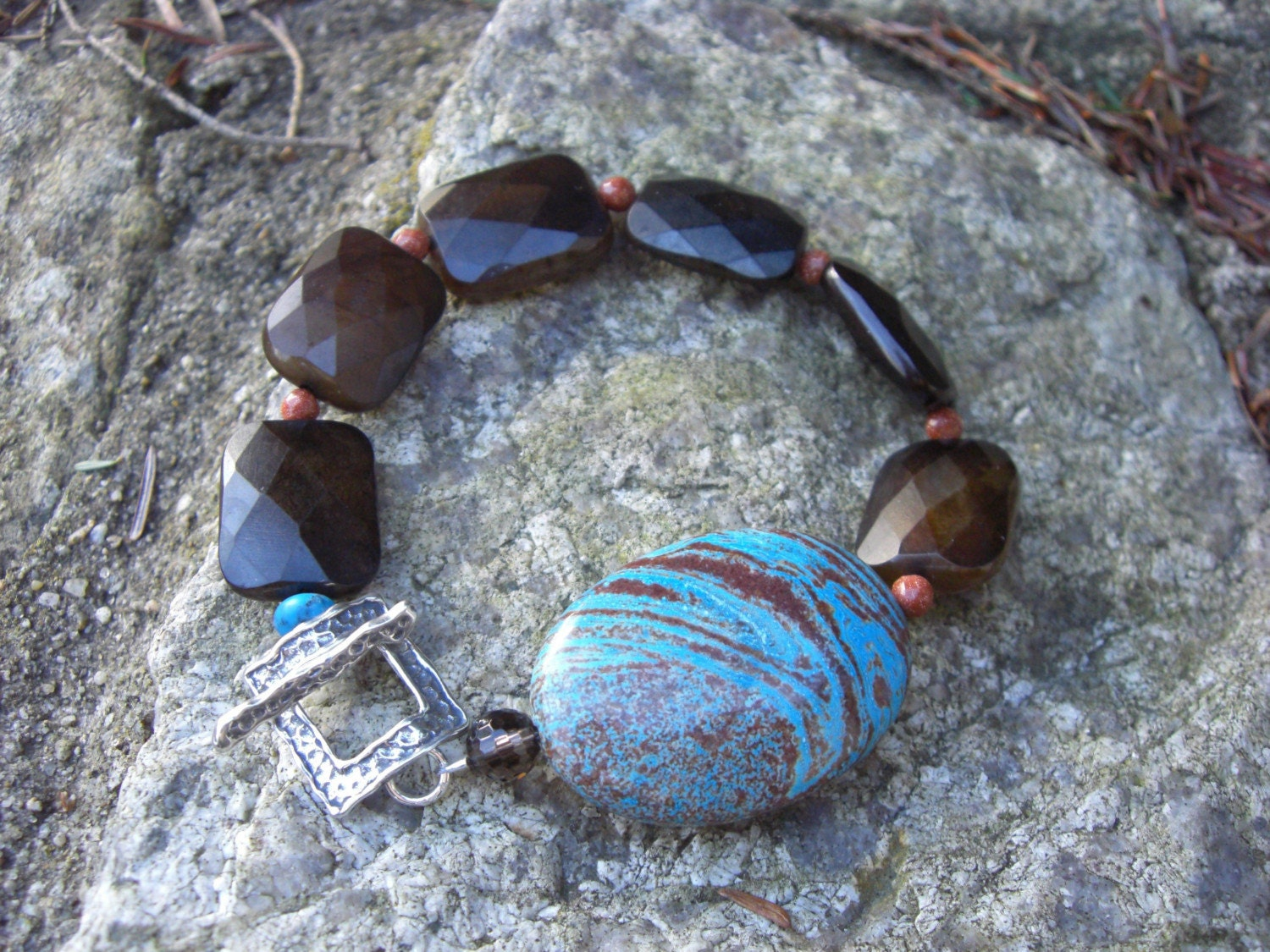HARBOR BRACELET, BLUE JASPER OVAL, JADE, BLOODSTONE, HAMMERED SILVER TOGGLE