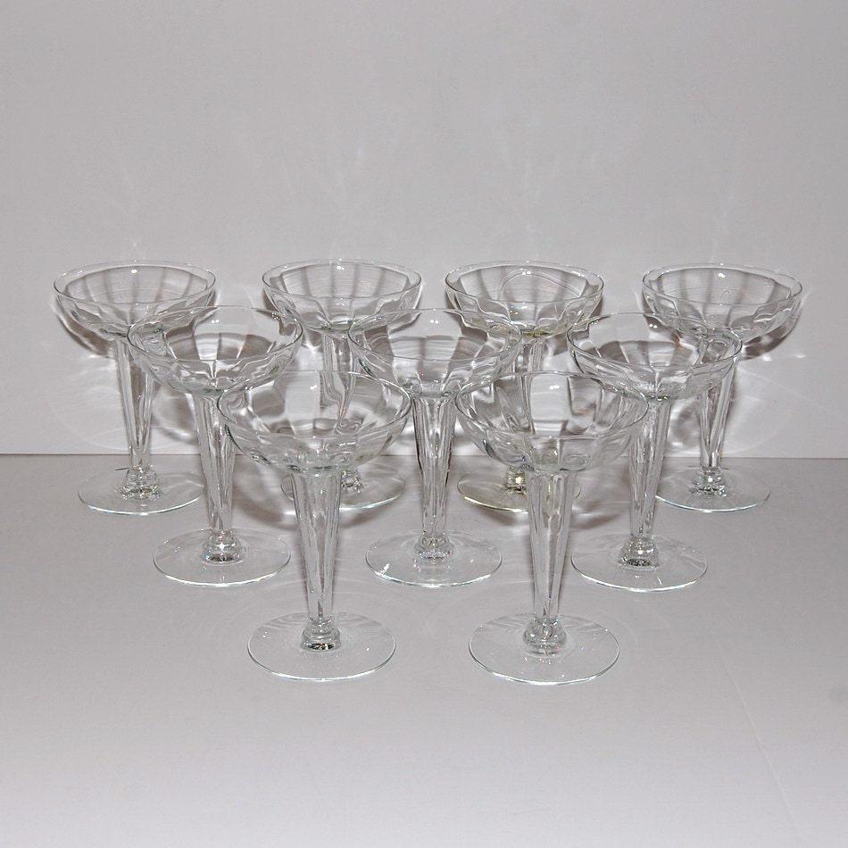 Vintage hollow stem optic glass champagne sparkling by abundancy - Hollow stem champagne glasses ...