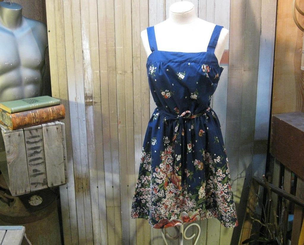 Vintage Navy Pansy  floral Summer garden flowers bra sundress M