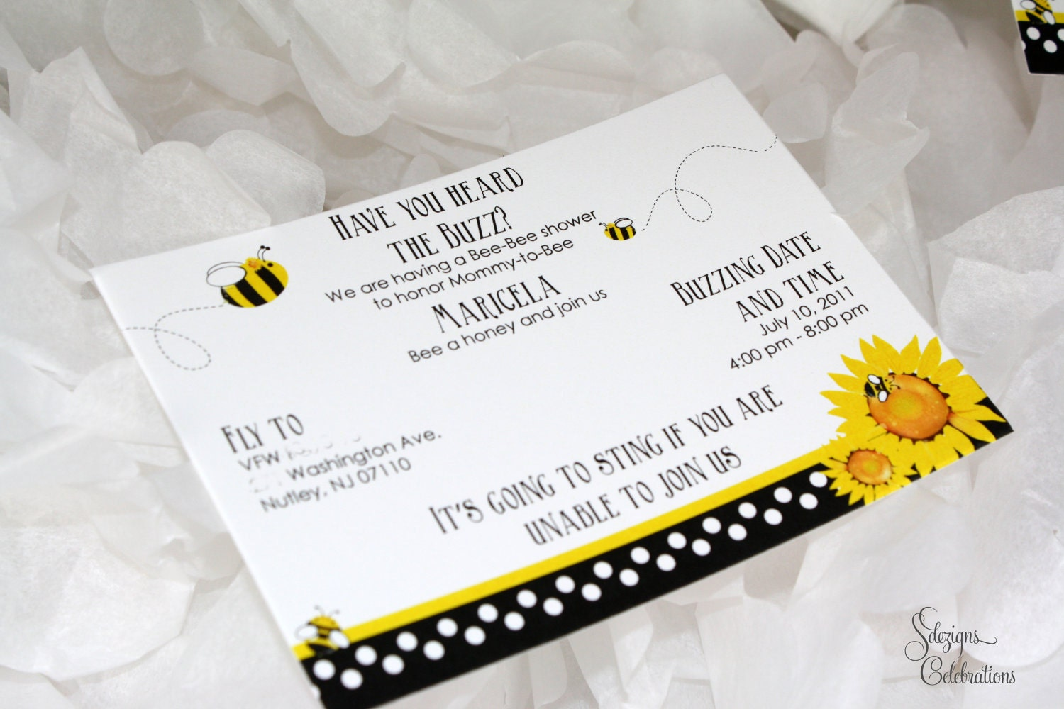 bee and sunflower baby shower invitation by sdezigns on etsy