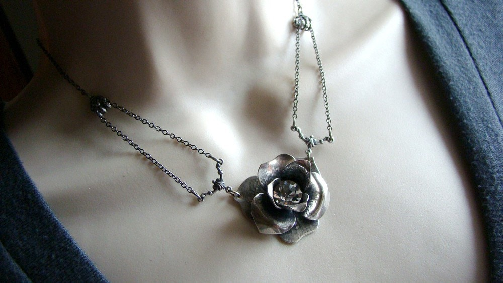 Mechanical Rose - Silver Plated Realistic Blooming Rose and Rhinestone Necklace