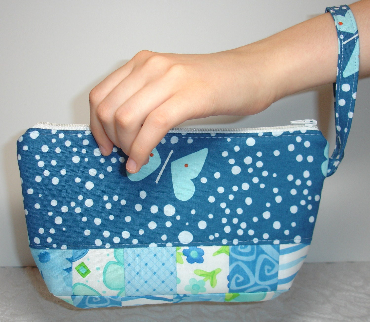 Wristlet Zippered Clutch Purse Bag Quilted - Light Blue, Navy, White - Butterfly - KeriQuilts