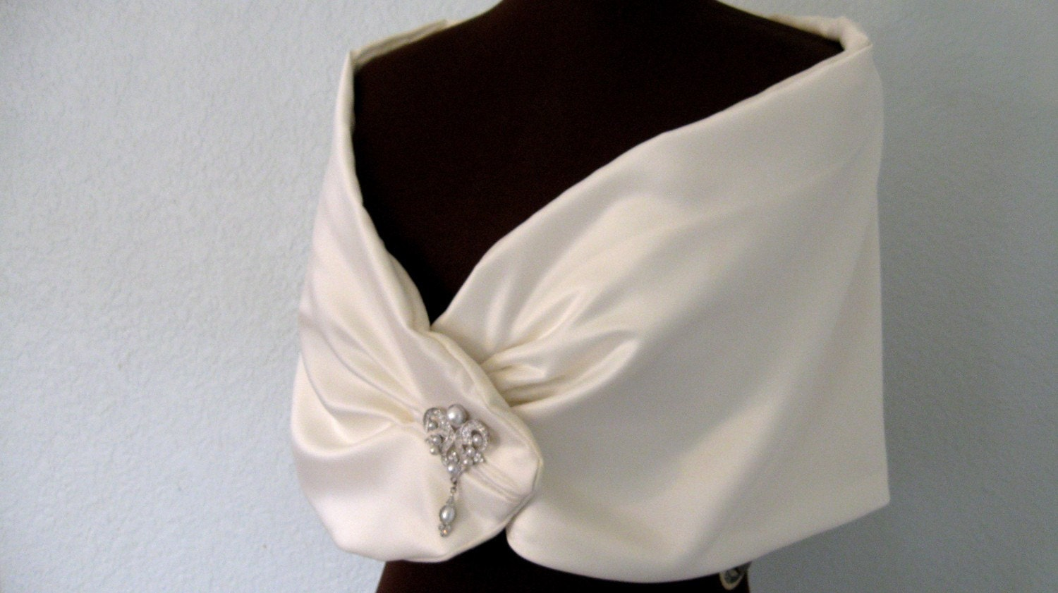 Sweetheart Bridal Wrap- Romantic triple pleated light ivory satin and microsuede bridal wrap with Swarovski and pearl art deco brooch