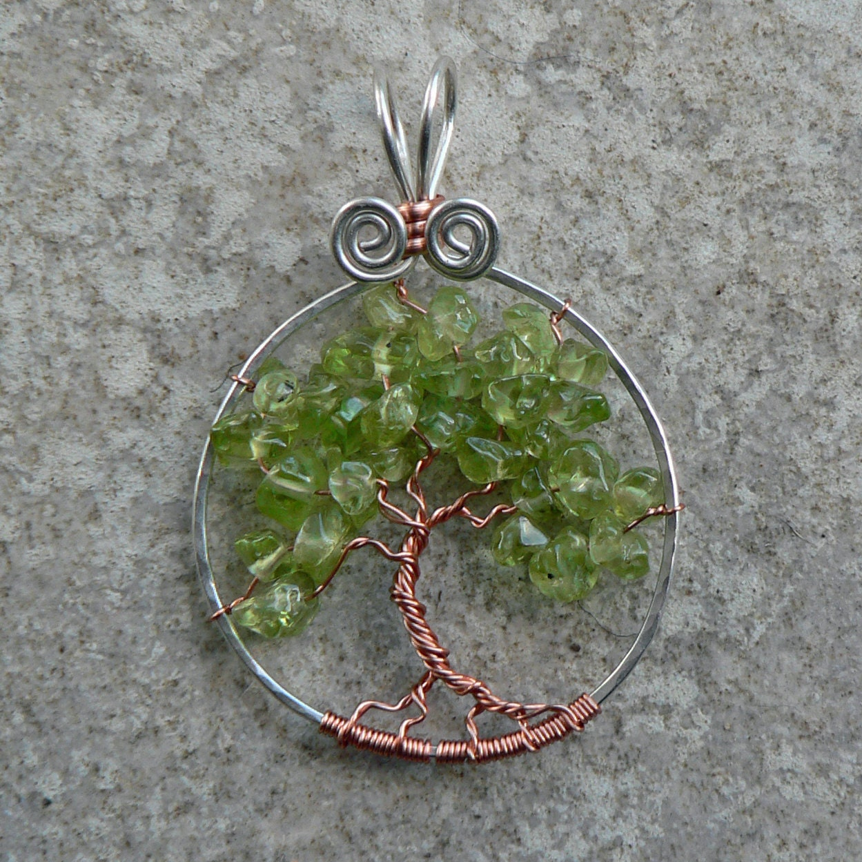 Spring Green Peridot Tree of Life Pendant in Sterling Silver and Copper - magpiesmiscellany