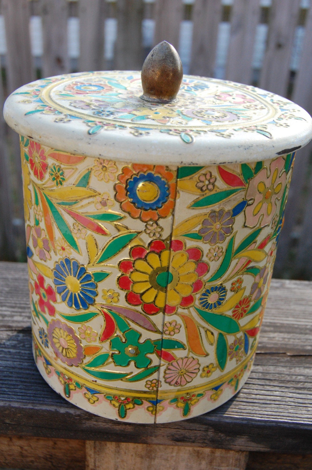 Vintage Tin Canister floral inlay copper metal kitchen retro with lid cream color