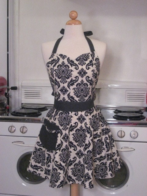 The BELLA Vintage Inspired Black and White Damask Full Apron