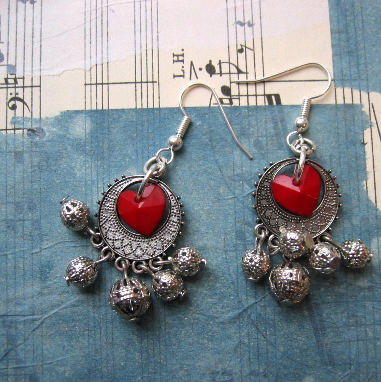 Disco-ball Heart Jangles - Earrings