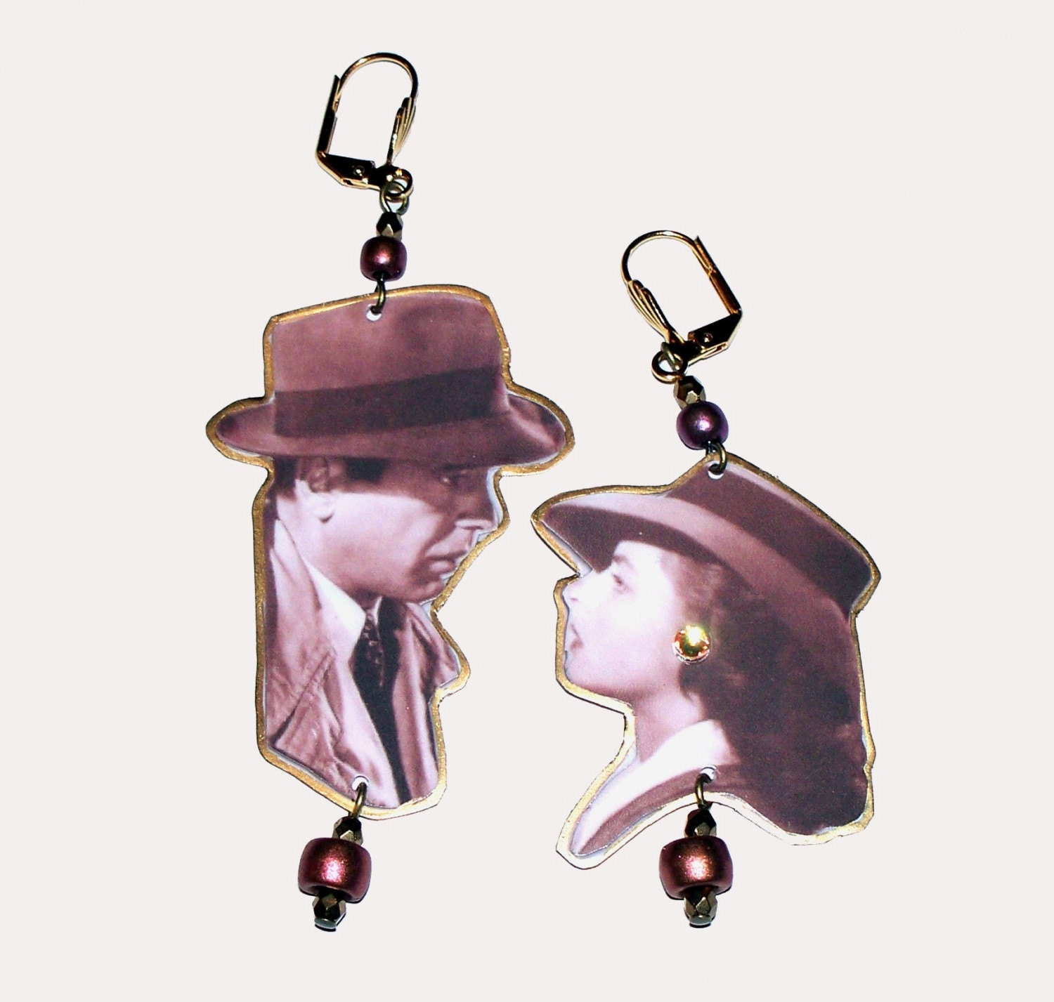 Casablanca Earrings with Ingrid Bergman and Humphrey Bogart
