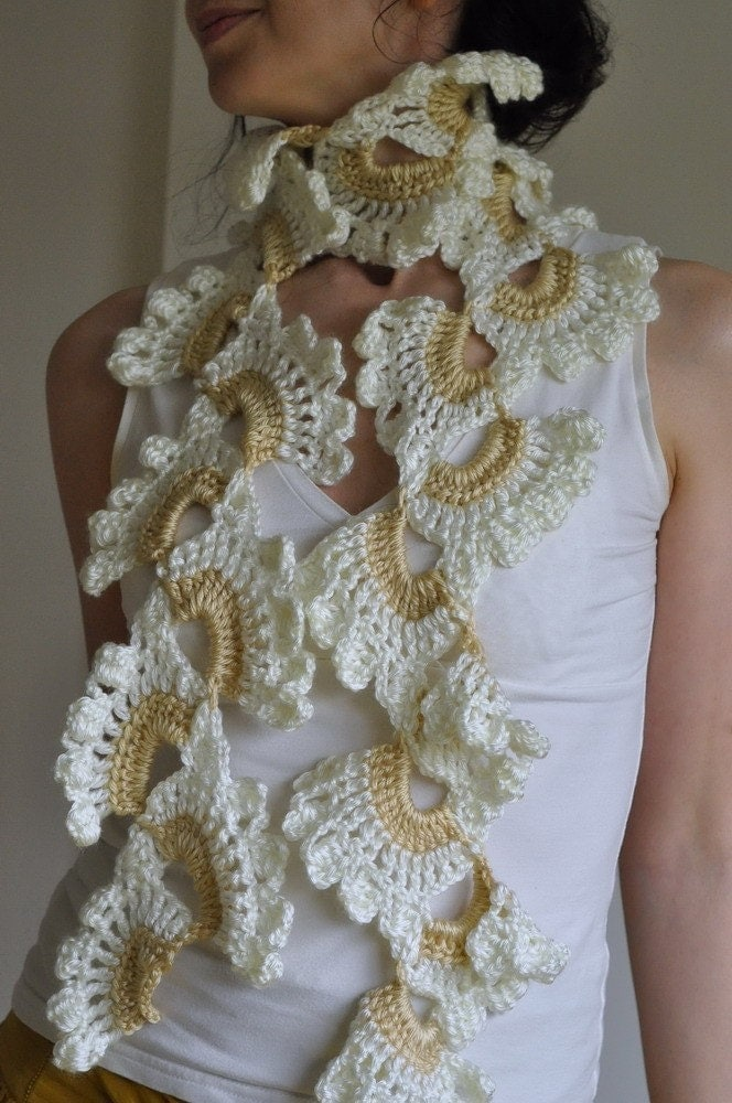 White Orchid - crocheted openwork lace romantic feminine scarf / scarflette / shawl in ivory and soft beige