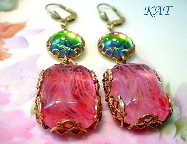 Romancing The Colors - Filigree Brass and Colorful and Pink Glass Earrings - Katofmanycolors