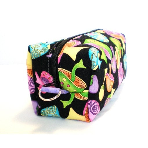 NEW STYLE Box Zipper Pouch from Sew Darn Simple - Psychedelic Mushrooms on Black