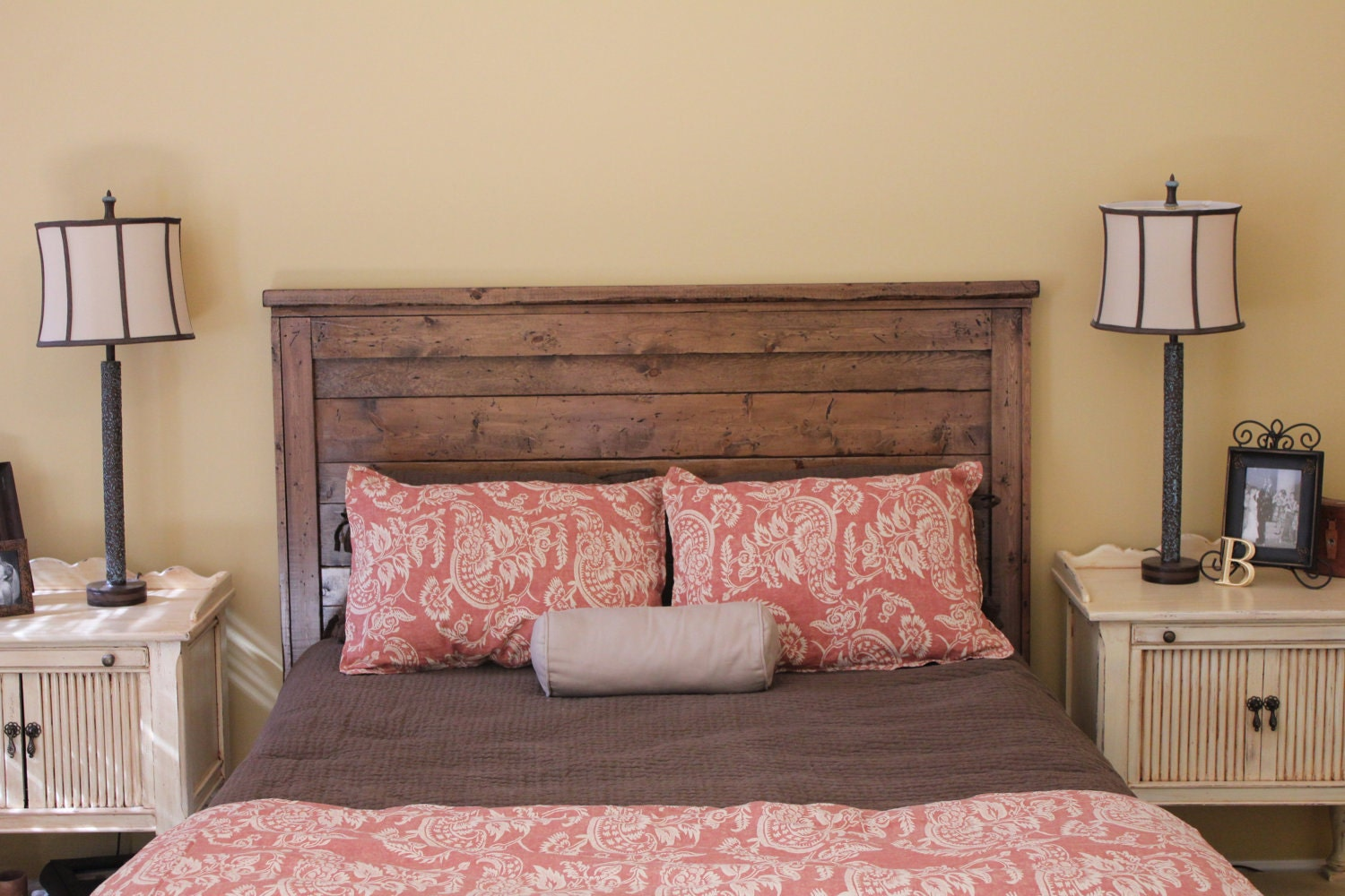queen reclaimed wood headboard by goodmanbm on etsy. Black Bedroom Furniture Sets. Home Design Ideas