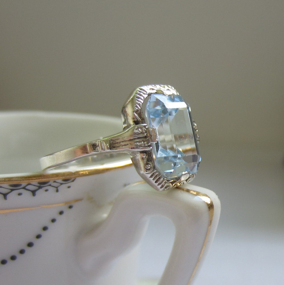 antique blue topaz ring engagement ring ornate filigree