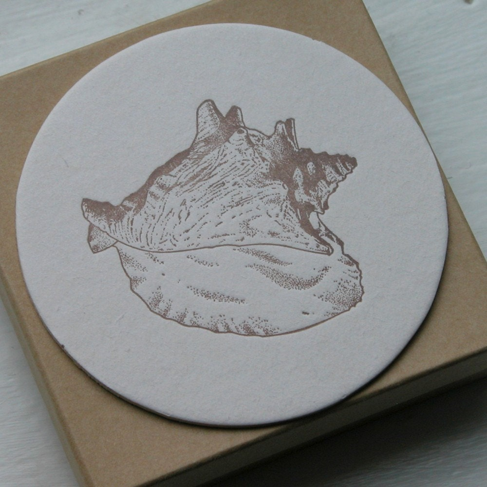 Conch Shell Coasters (Letterpress) set of eight