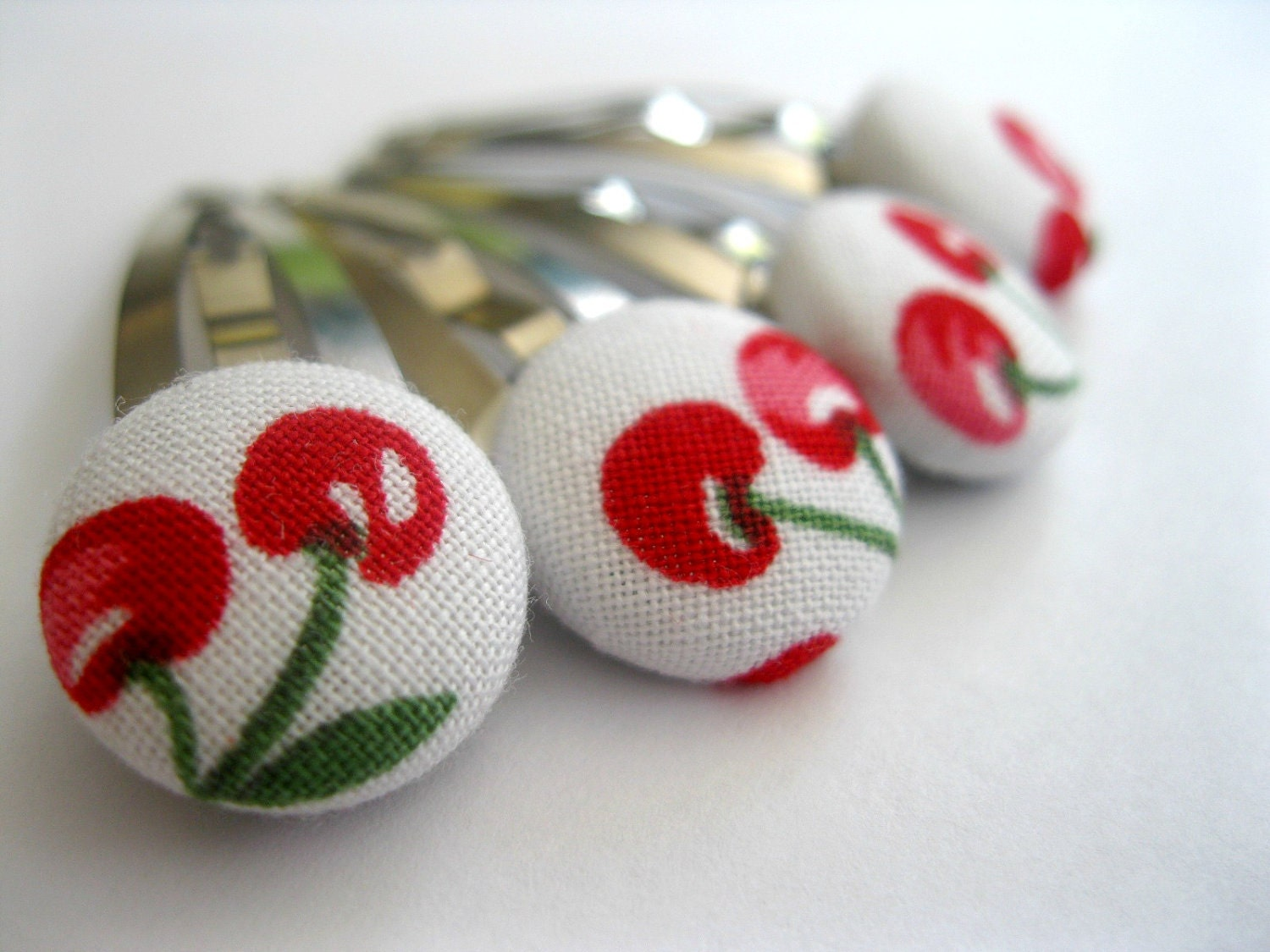 Red Cherries Snap Hair Clips : Funky Hair Barrettes - Set of four - Rotifera