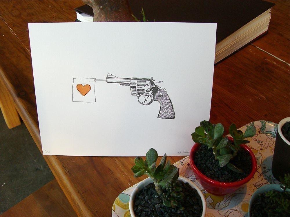 letterpress heart revolver