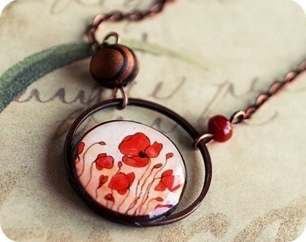 Red Poppies necklace - Free Worldwide shipping and Gift Wrapping