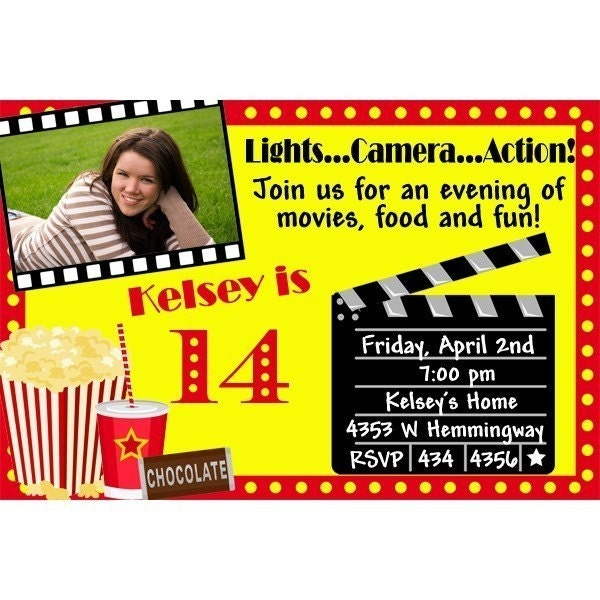 Movie ticket party invitations