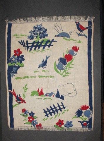 1940s Early Bluebird Gets the Worm Tea Towel - HiKoo