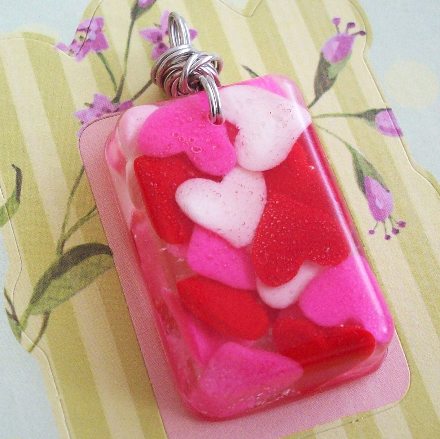 Candy Hearts Hand Cast Resin Pendant
