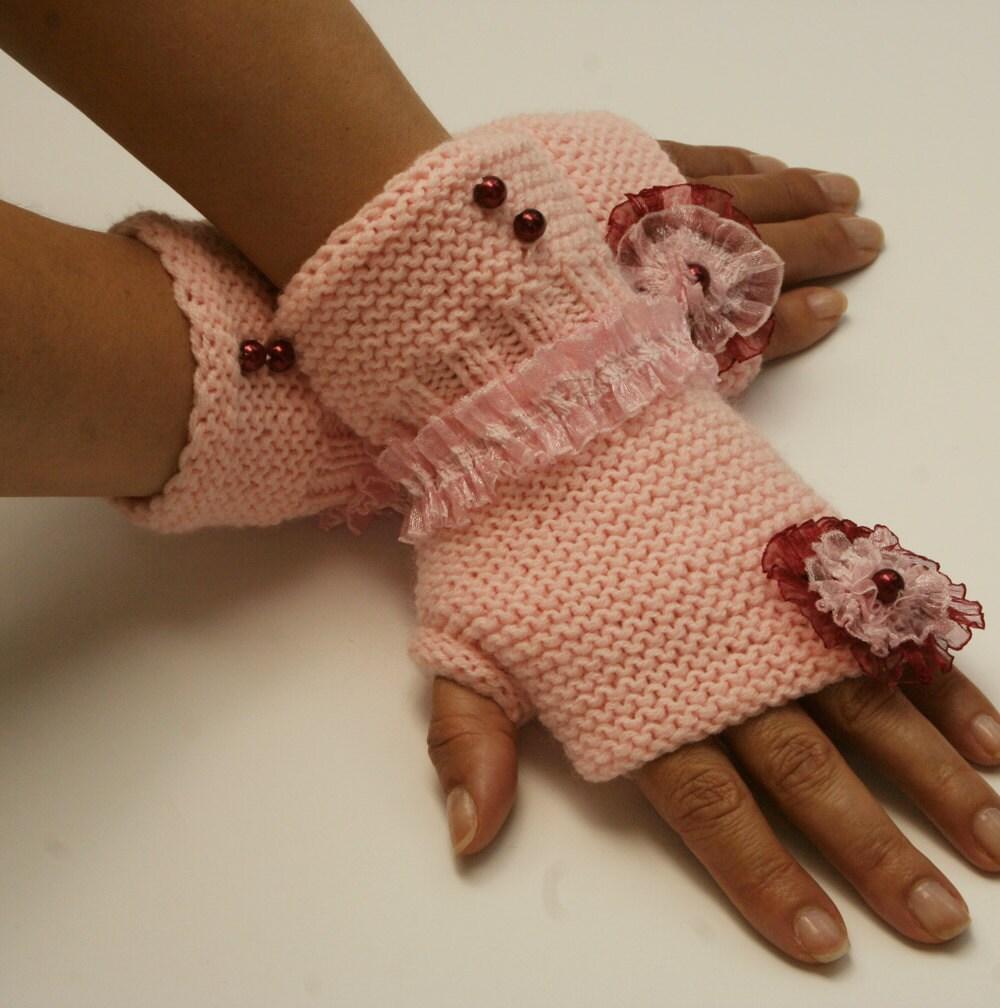 دست زنان کشباف fingerless دستکش های صورتی ، گل ، مد ، توری ، زمستان
