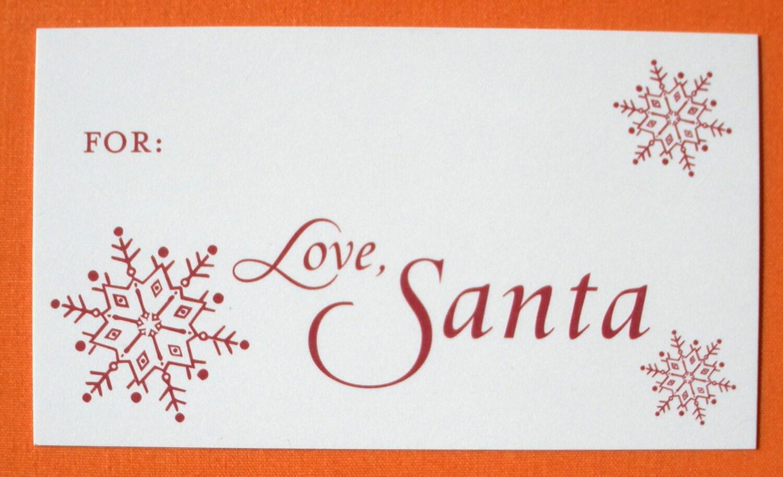 Love Santa Gift Tags from Santa Set of 8 by ErikaFirm on Etsy