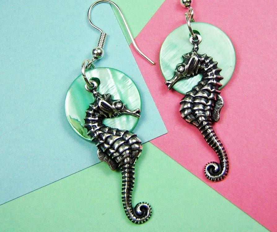 Seahorse Seashell Earrings Teal