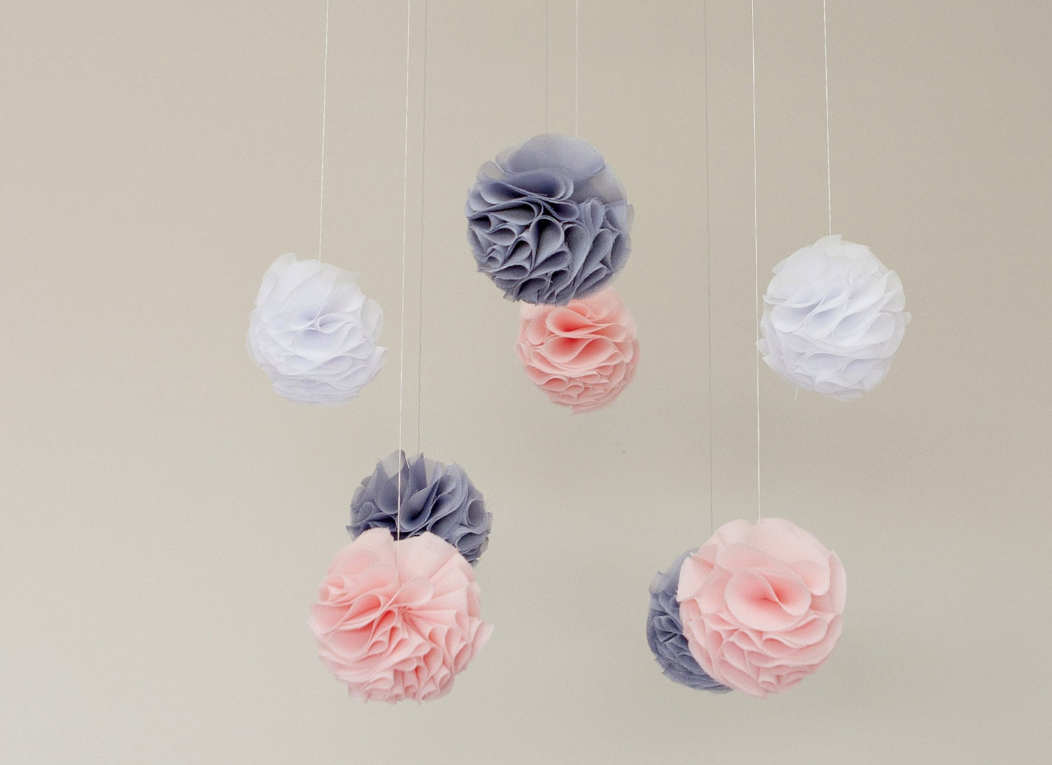 Baby Mobile - Pink, Grey and White Pom Poms