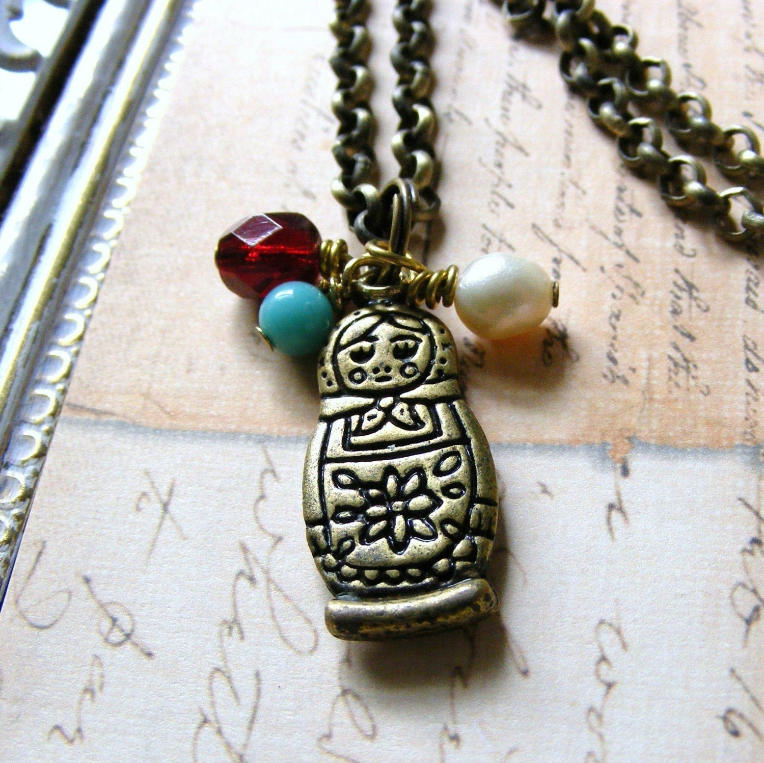 RUSSIAN DOLL matryoshka charm necklace by outoftheblue on Etsy