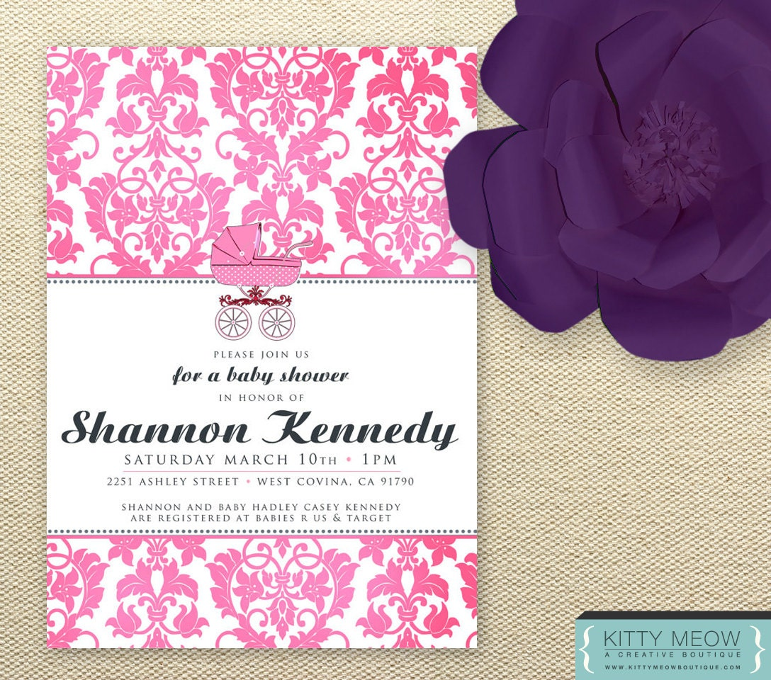 items similar to diy damask pink baby shower invitations on etsy