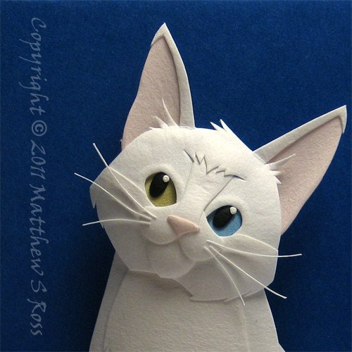 Odd Eyed WHITE Kitten CAT Paper Sculpture ACEO by M Ross