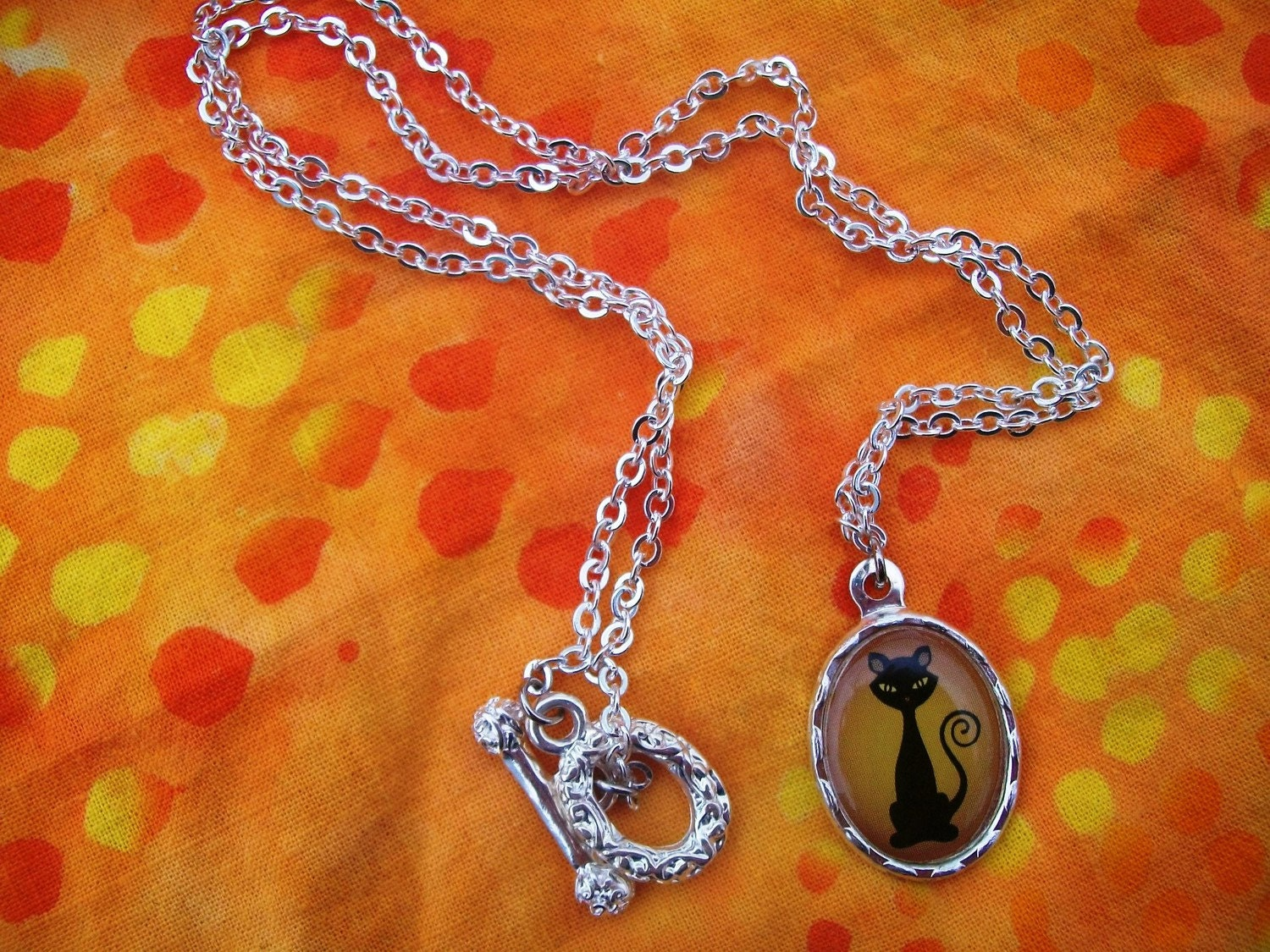 Orange Black Cat Halloween Necklace