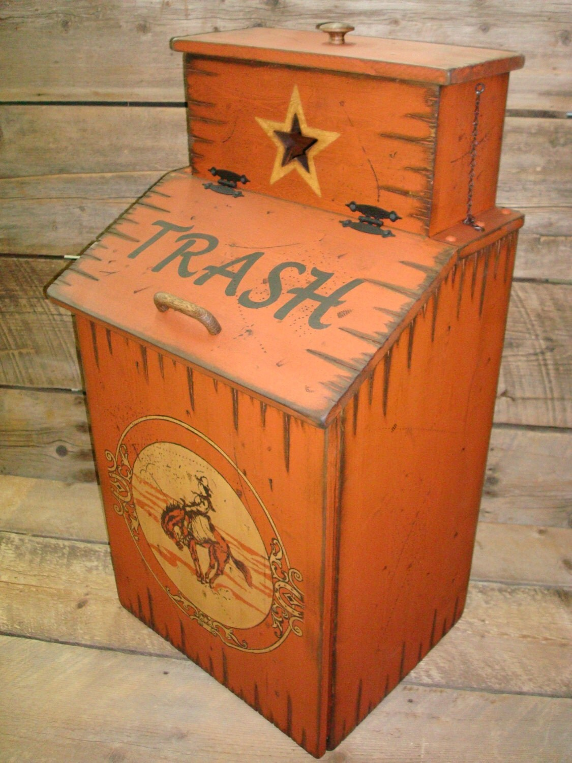 Wood Trash Can With Trash Can Bag Storage By Workhorsefurniture