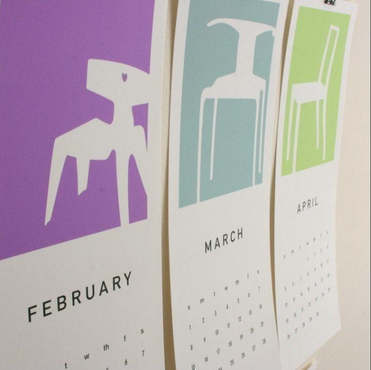 2011 Printable Calendar, Mid-Century Chairs