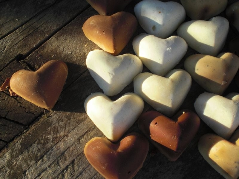 100 Wedding Favors - AID for JAPAN 20% of this sale goes to the Red Cross  in JAPAN - 100 Assorted heart shaped soap bars, all natural, organic, eco friendly, vegan