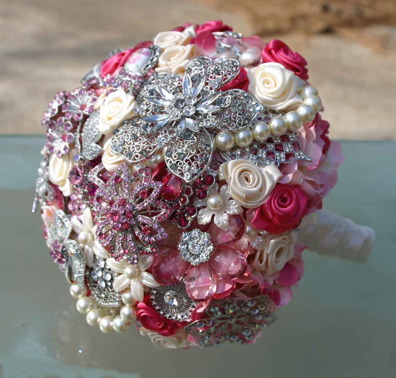 Vintage style broach pink wedding bouquet - Deposit on made to order bridal bouquet - Heirloom Bouquet