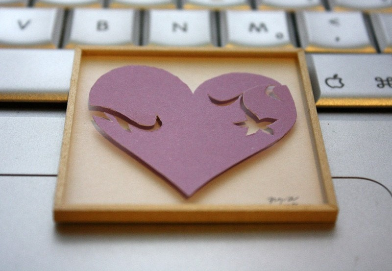"Miniature Shadowbox Paper Wall Art, ""Heart, Pretty in Purple"" made for 1:12 Scale Dollhouses"