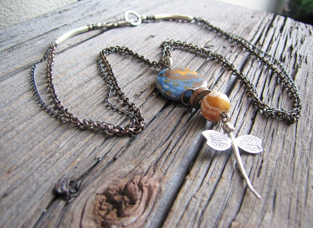 SALE Necklace - Kazuri, Thai Hill Tribe dragonfly, mixed metals