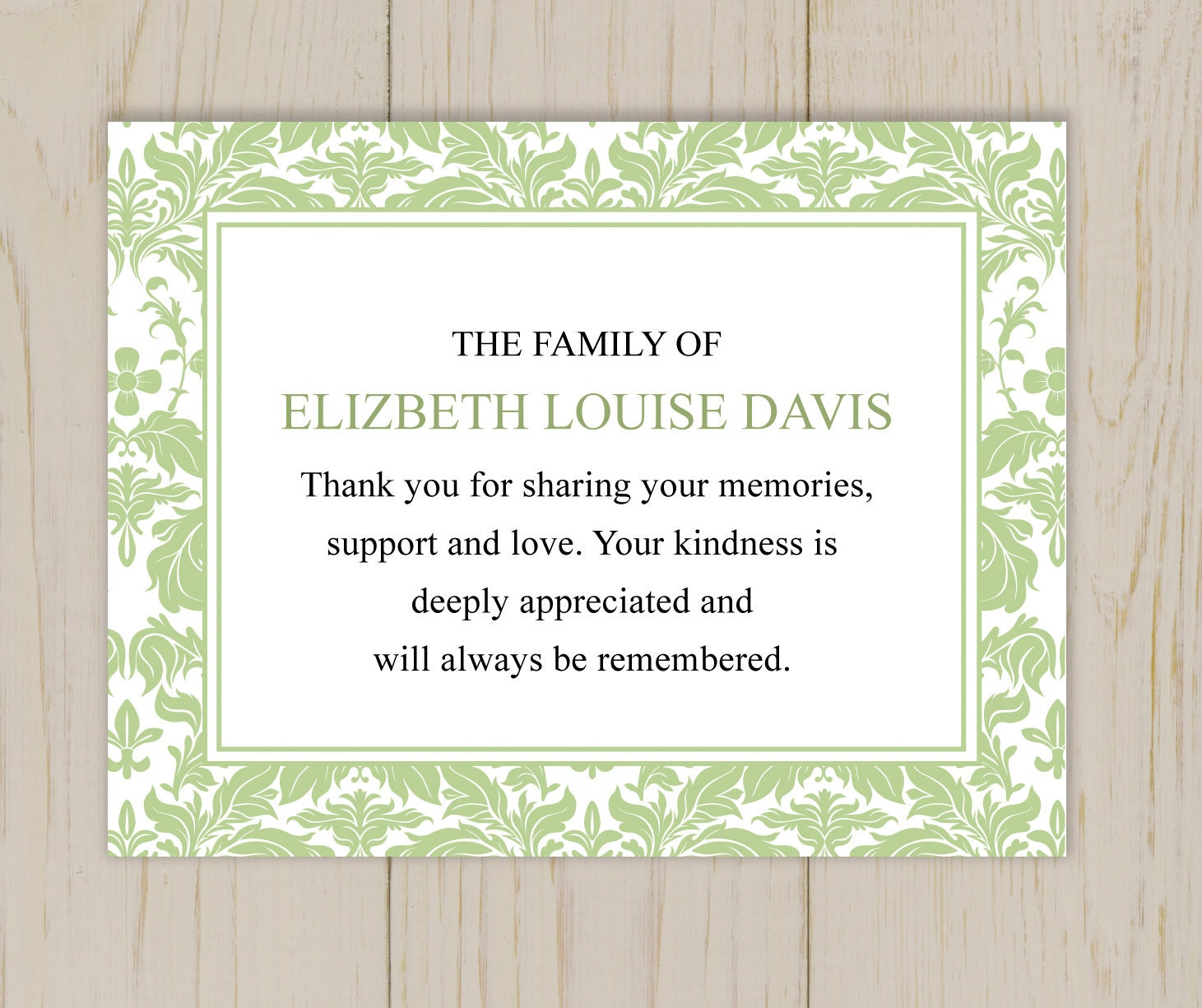 Damask Border Thank You Card Printable After by eloycedesigns