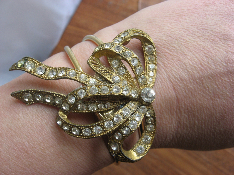Art deco rhinestone bow rhinestone brooch bracelet