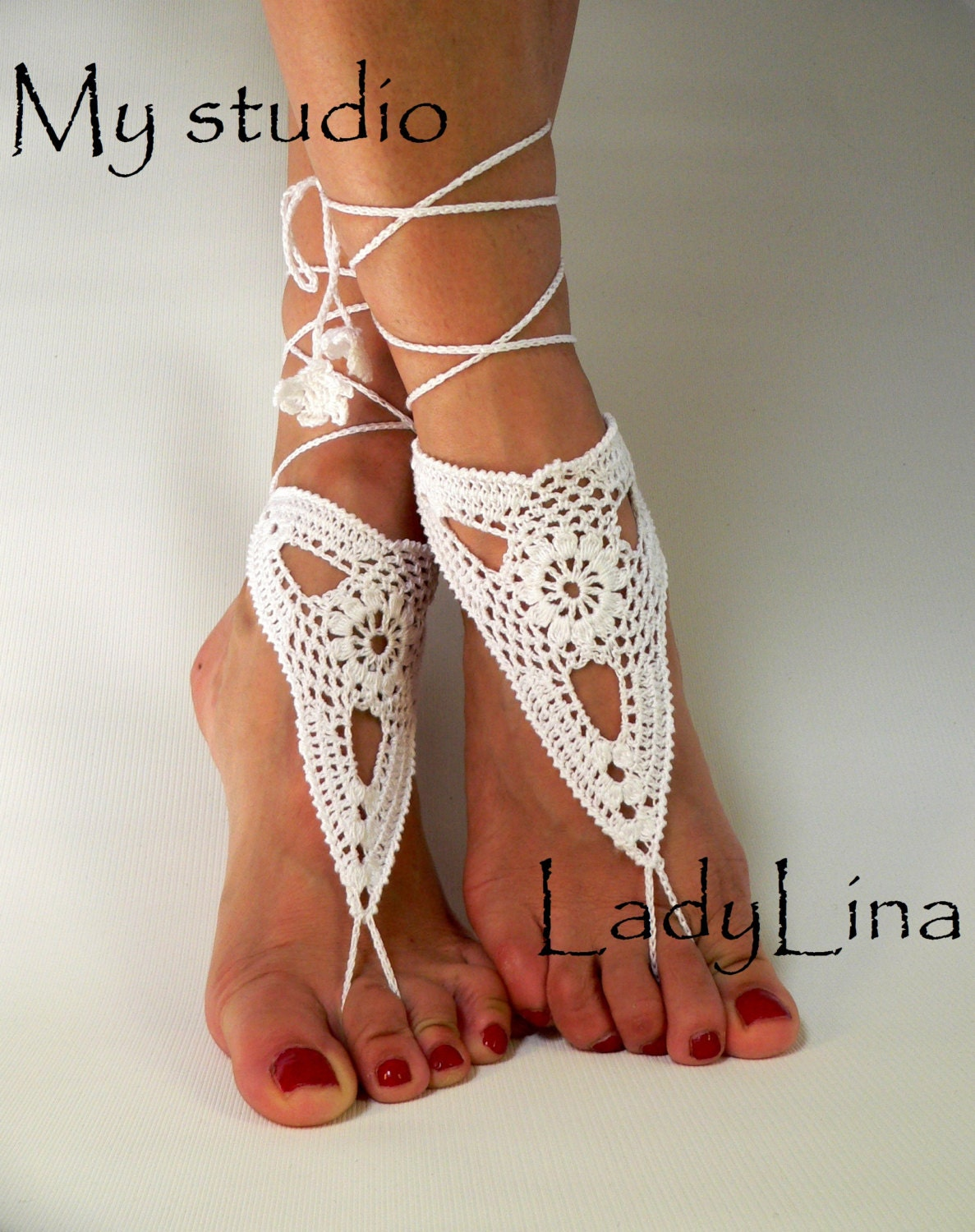 Crochet Barefoot Sandles Foot jewelry Wedding by LadyAlinaShop