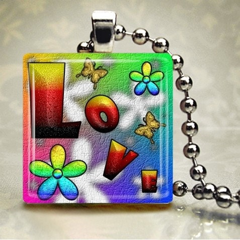 All You Need is Love - Glass Tile Pendant (HDA2)