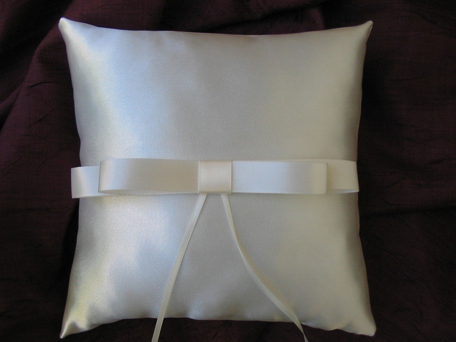 CLASSIC Ivory Satin Wedding Ring Bearer Pillow