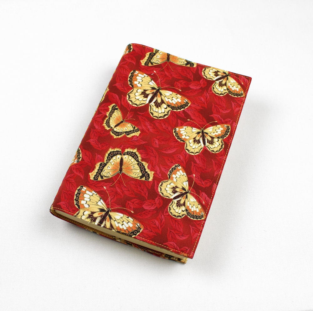 Large Fabric Book Cover ~ Butterflies on red fabric paperback book cover by