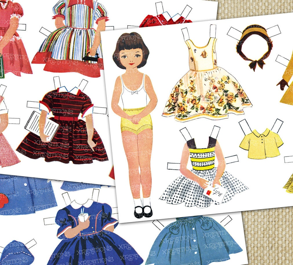 Printable Paper dolls - 1950s era - Dress up dolls - 15 dress set in yellow, red and blue sets - Large 7 inches doll - Xreations